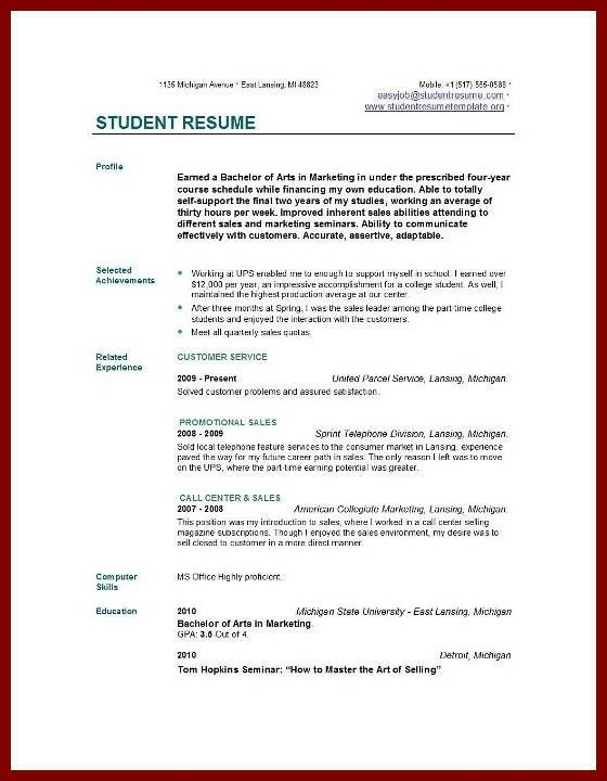 19 Job Resume Examples For College Students | sendletters.info