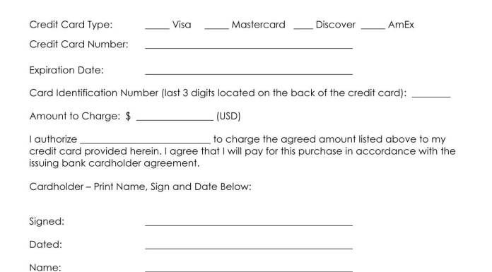 Credit Card Form. Credit Card Authorization Form Template Credit ...