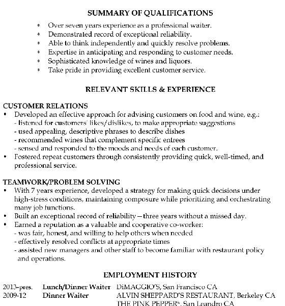 Interesting Inspiration Waitress Resume Example 11 Resume Sample ...