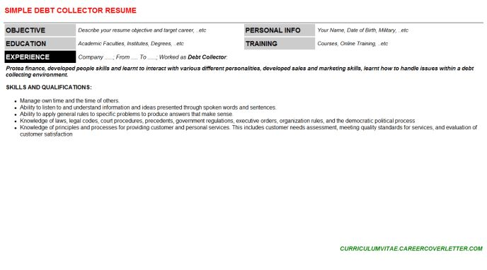 Debt Collector Cover Letter & Resume