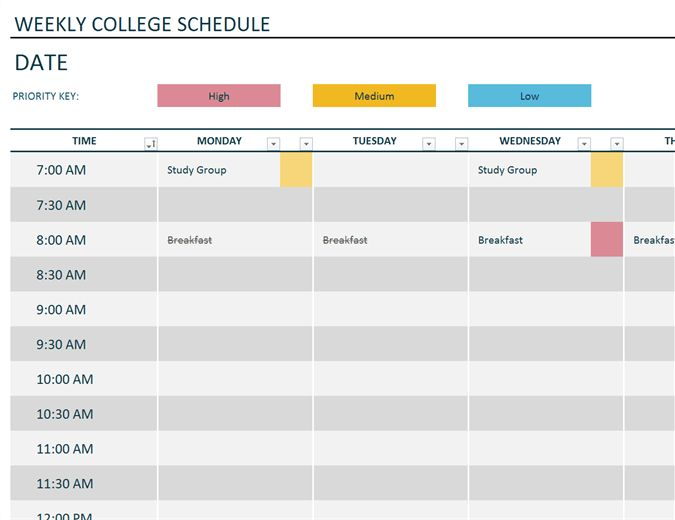 Weekly college schedule - Office Templates