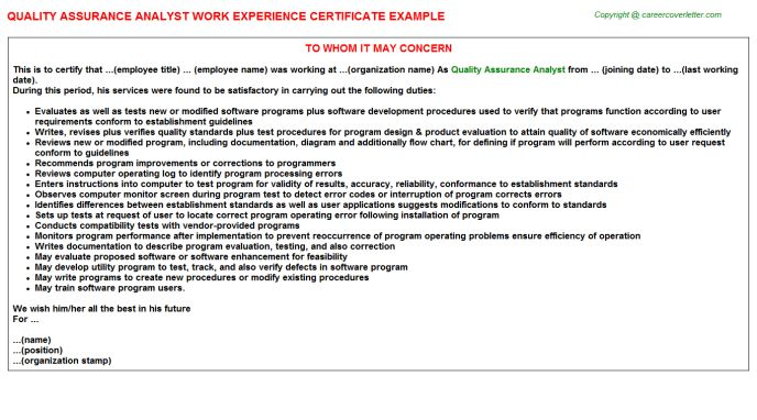 Quality Assurance Analyst Work Experience Certificate
