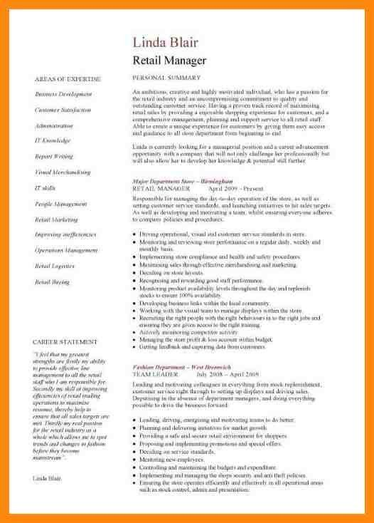 Retail Management Resume Examples. retail manager cv template ...