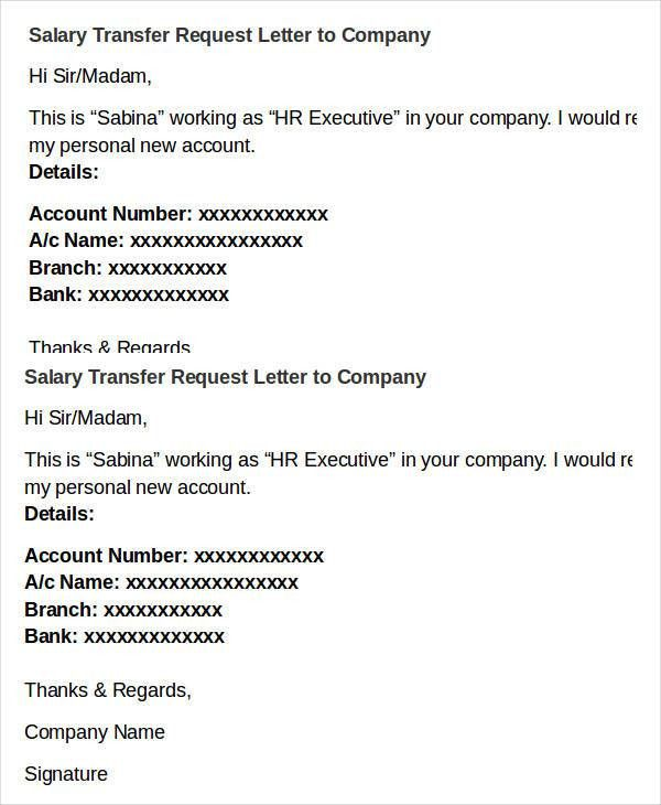 Salary Transfer Letter Template- 5+ Free Word, PDF Format Download ...