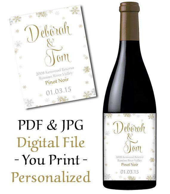 Wedding Wine Bottle Label Printable Snowflake