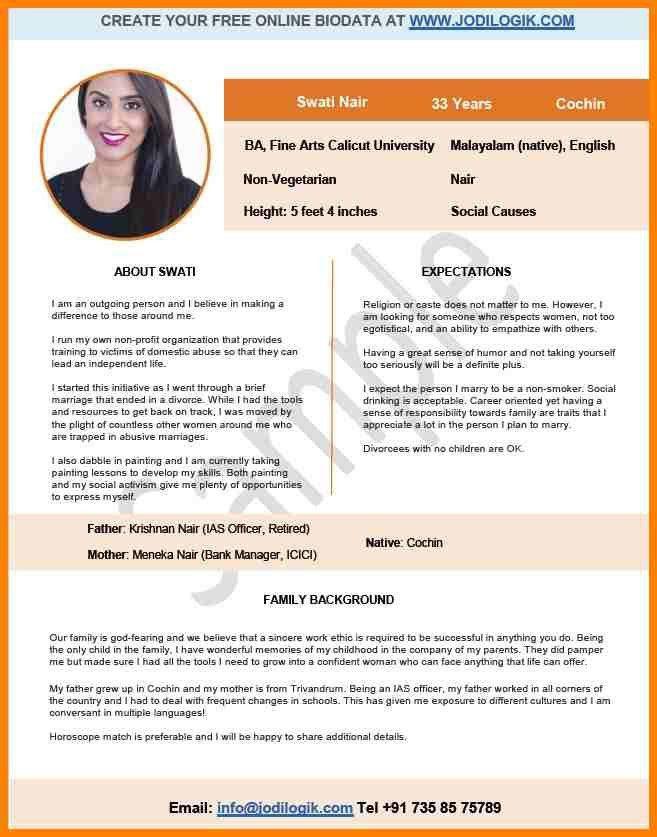 6+ marriage biodata format sample | resume language
