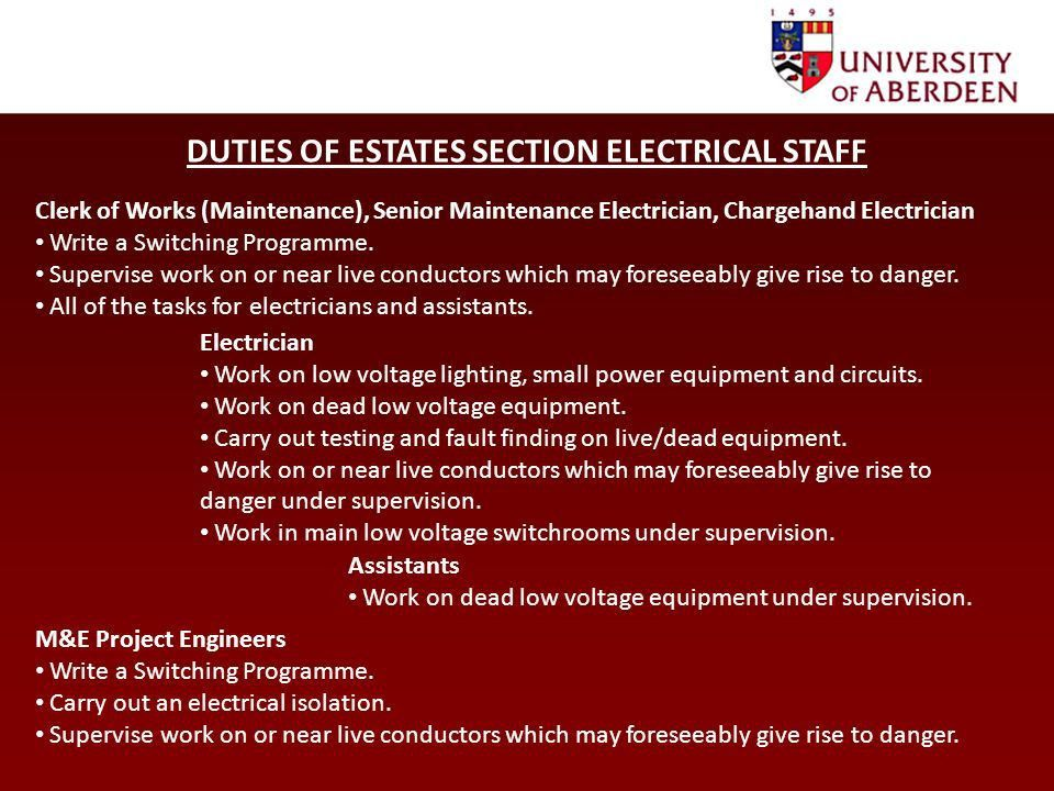 Procedures for work on Fixed Electrical Installations Toolbox Talk ...