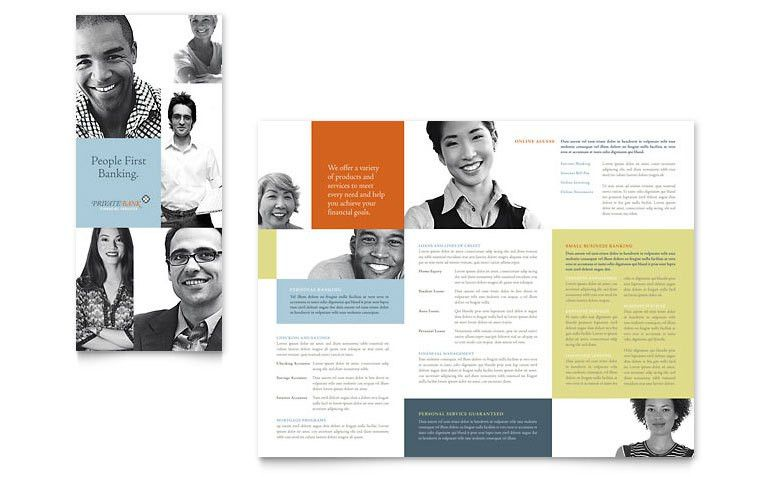 Private Bank Tri Fold Brochure Template - Word & Publisher