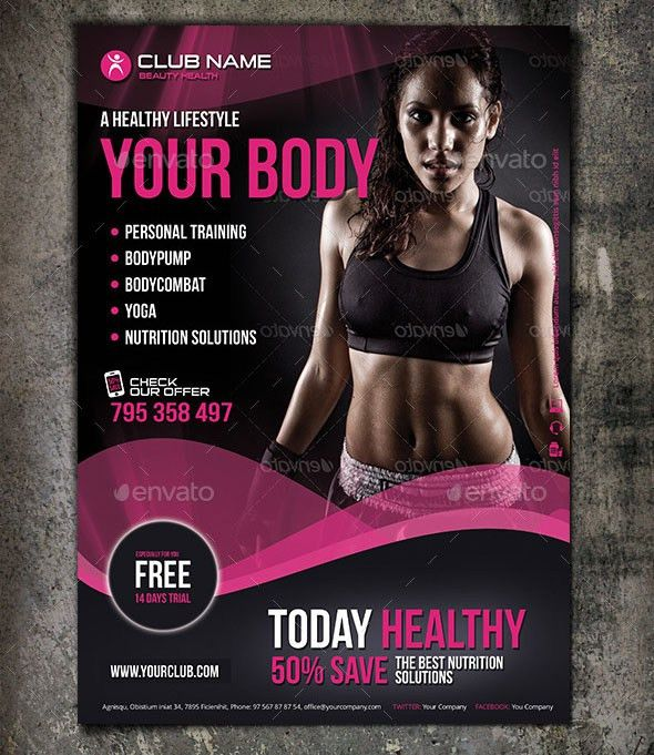 Fit body fitness flyer design is one of the modern and elegant ...
