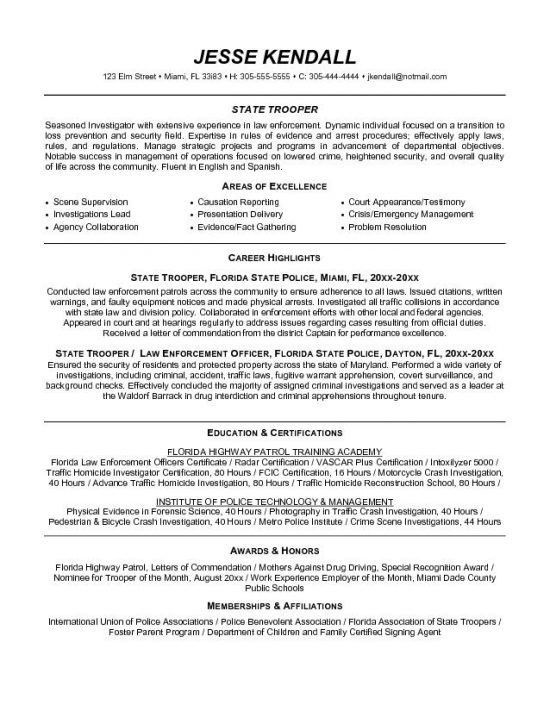Law Enforcement Resume - Resume Example