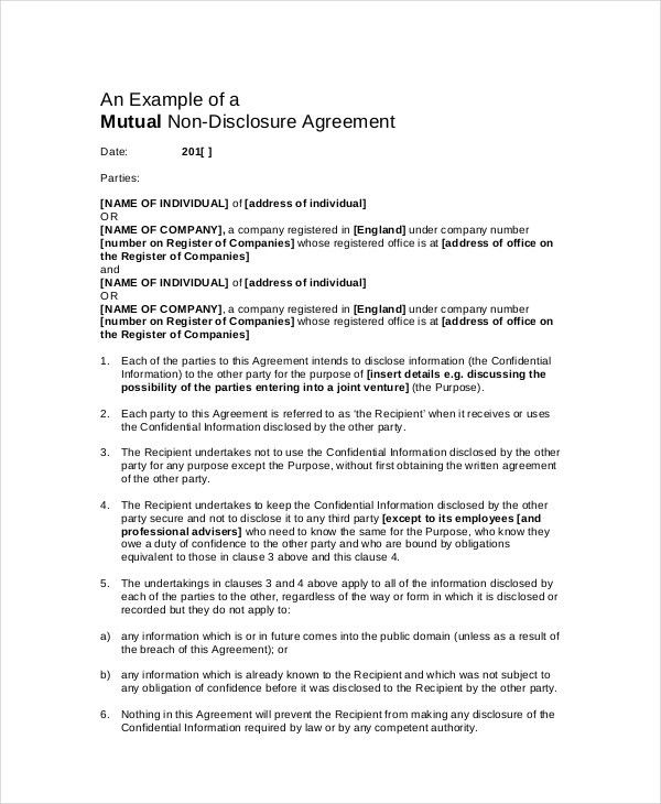 Confidentiality Agreement Template   12+ Free PDF, Word Download .