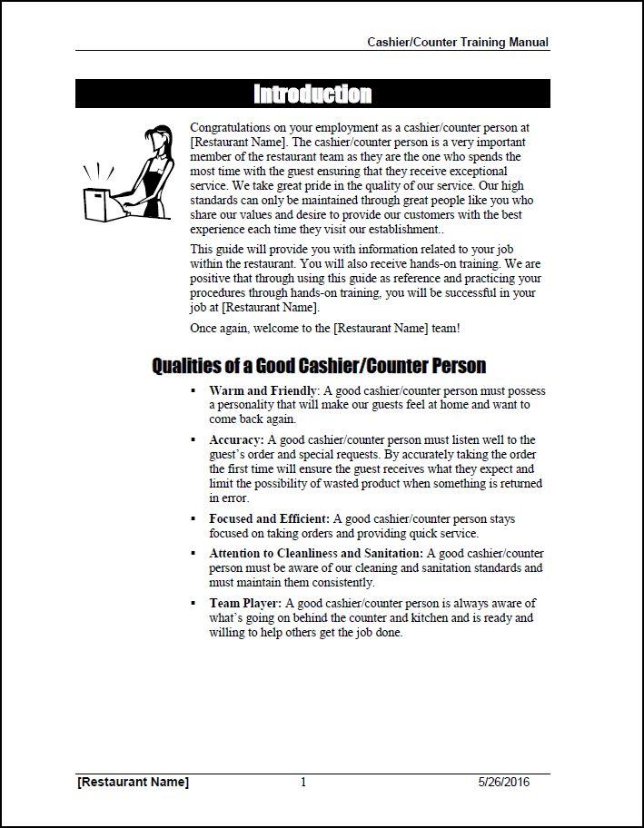 Cashier/Order Taker Training Manual - QSR