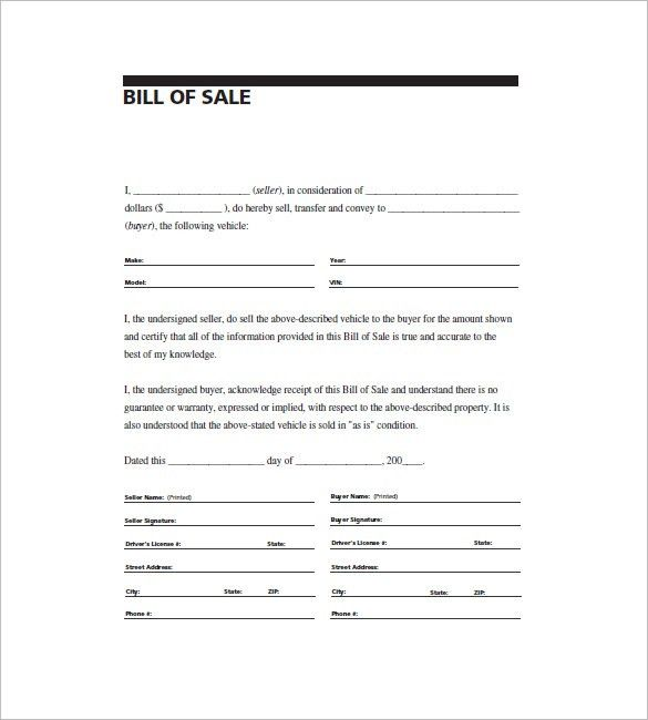 Free General Bill of Sale Template | Print Paper Templates