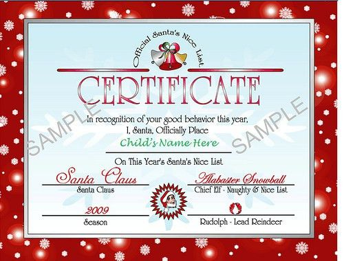 Santa's Nice list certificate - red | Holidays | Pinterest | Nice ...