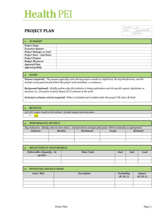 Project Charter Template - download free documents for PDF, Word ...