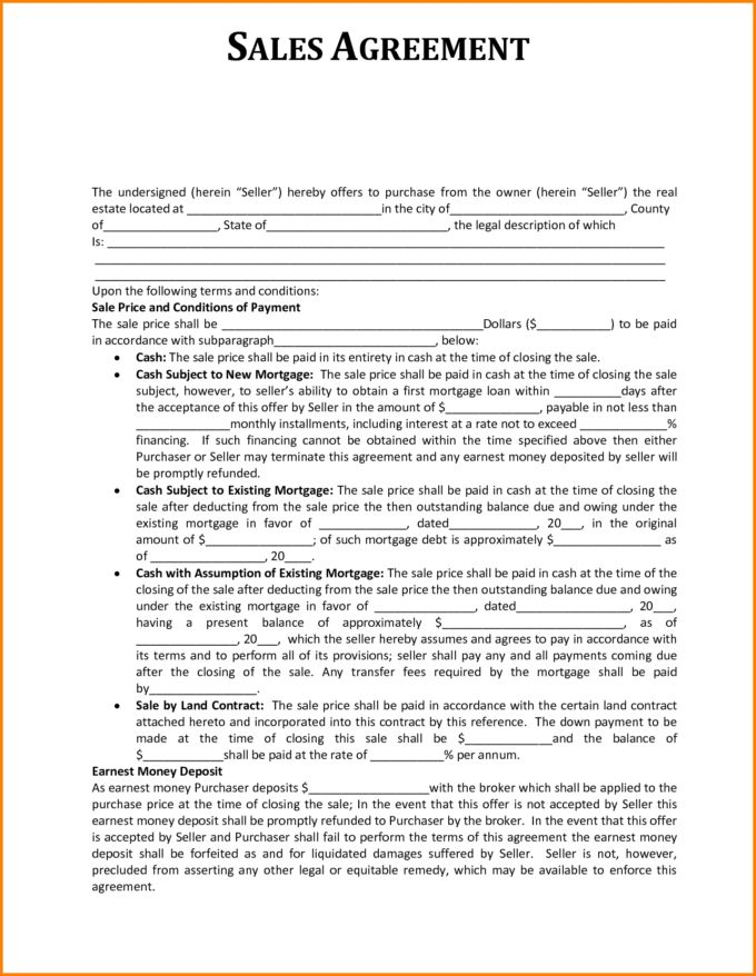 Sales Agreement Template For Buying Or Selling Used Automotive Or ...