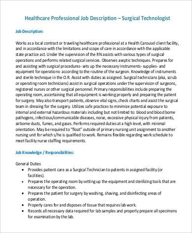Sample Surgical Tech Job Description - 8+ Examples in PDF