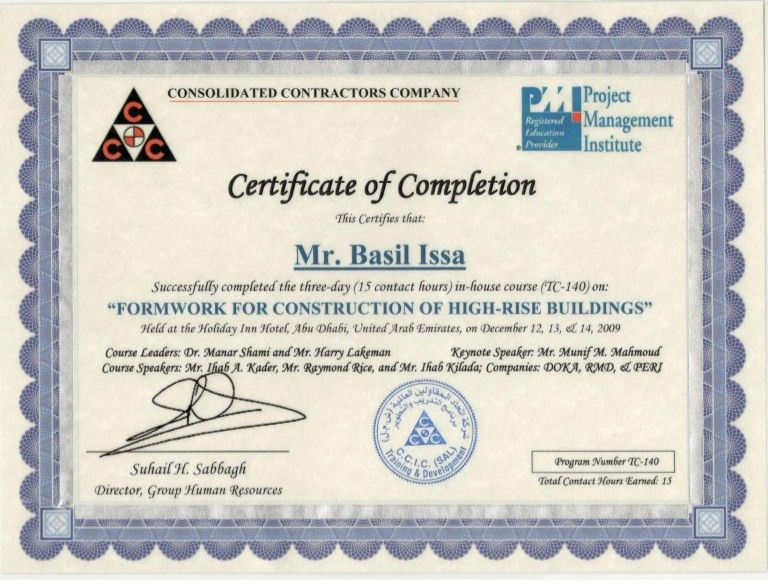 Certificate of Completion - Formwork For Construction of High Rise Bu…