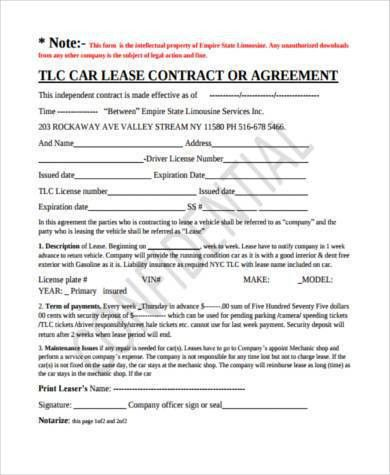 Vehicle Lease Agreement Samples - 9+ Free Documents in PDF
