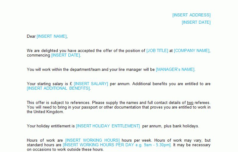 Job Offer Letter Template - Bizorb