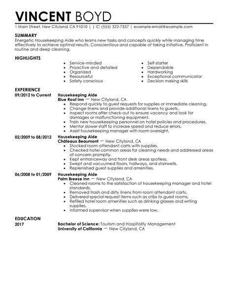 Best Housekeeping Aide Resume Example | LiveCareer