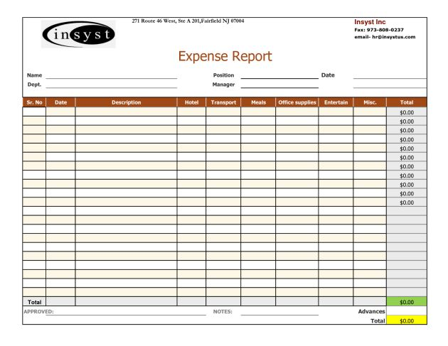 Expense Report and Tracking Template with Company Logo : Helloalive