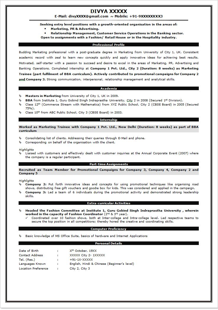 Sample Resume For Freshers Of Mba - Templates
