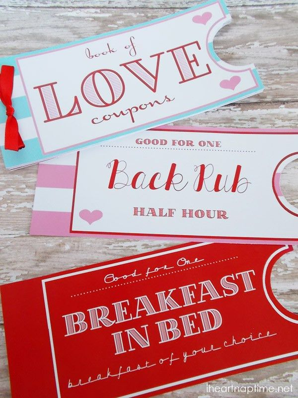 Printable Love Coupon Book - I Heart Nap Time