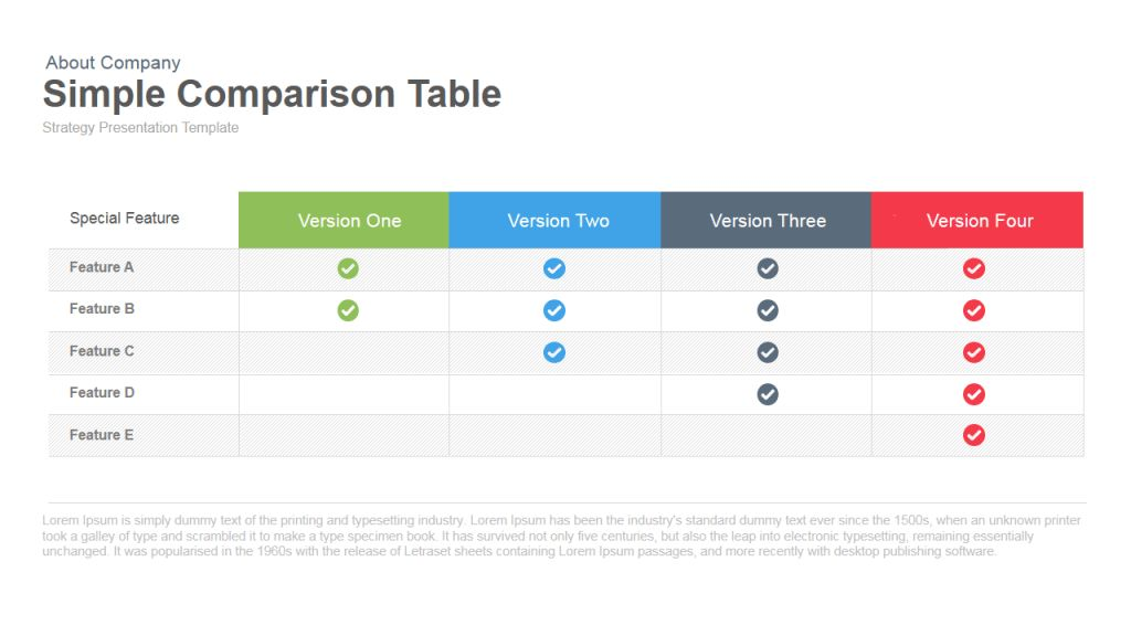 Simple Comparison Table PowerPoint and Keynote template | SlideBazaar