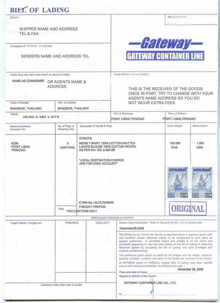 Bill of Lading (B/L) - What is it? its Different Types?