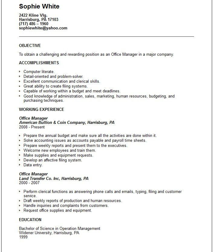 Office Manager Resume Objective | berathen.Com