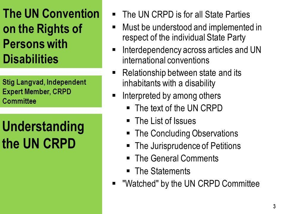 The UN Convention on the Rights of Persons with Disabilities Stig ...