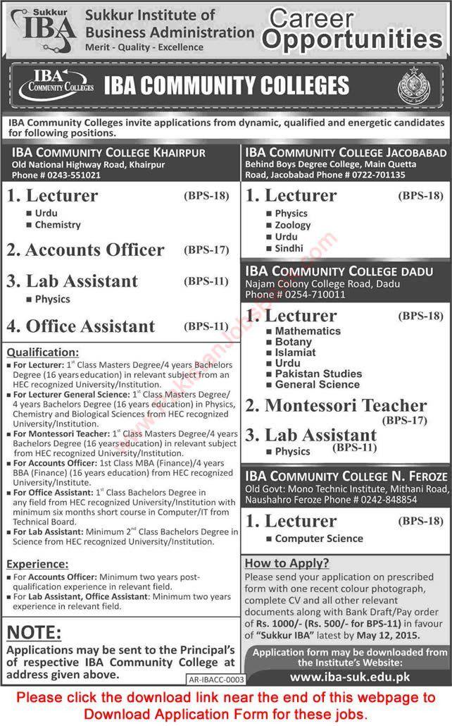 IBA Community College Jobs 2015 April Application Form Download ...
