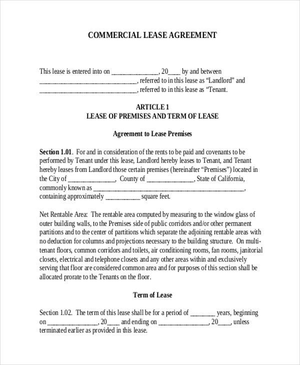 Sample Commercial Lease Agreement Form - 8+ Free Documents in PDF