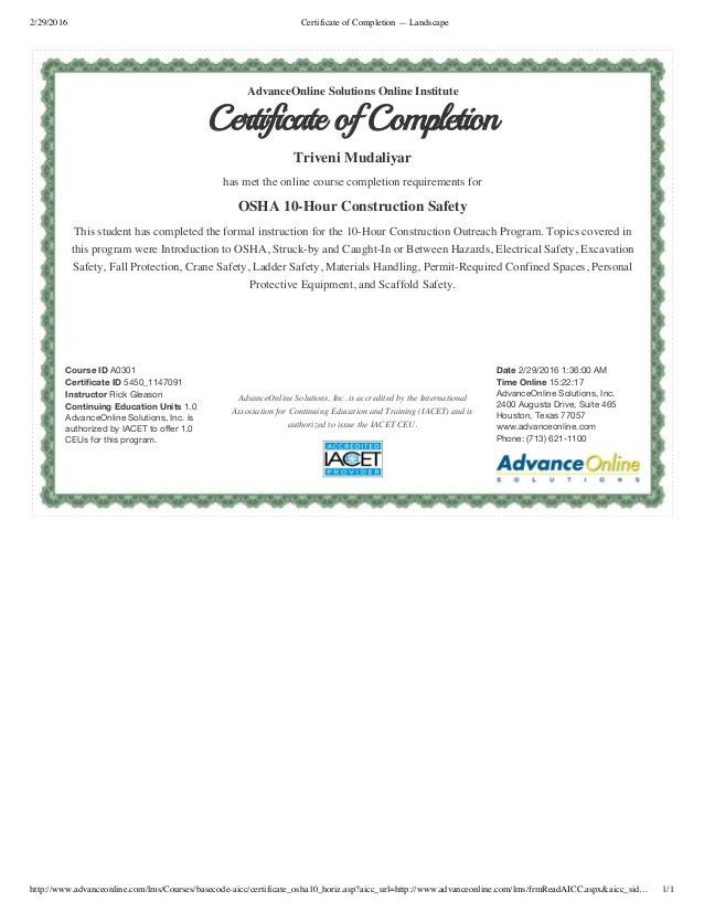 Certificate of Completion — OSHA10Hr