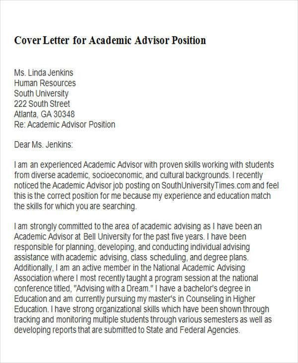 academic counselor cover letter