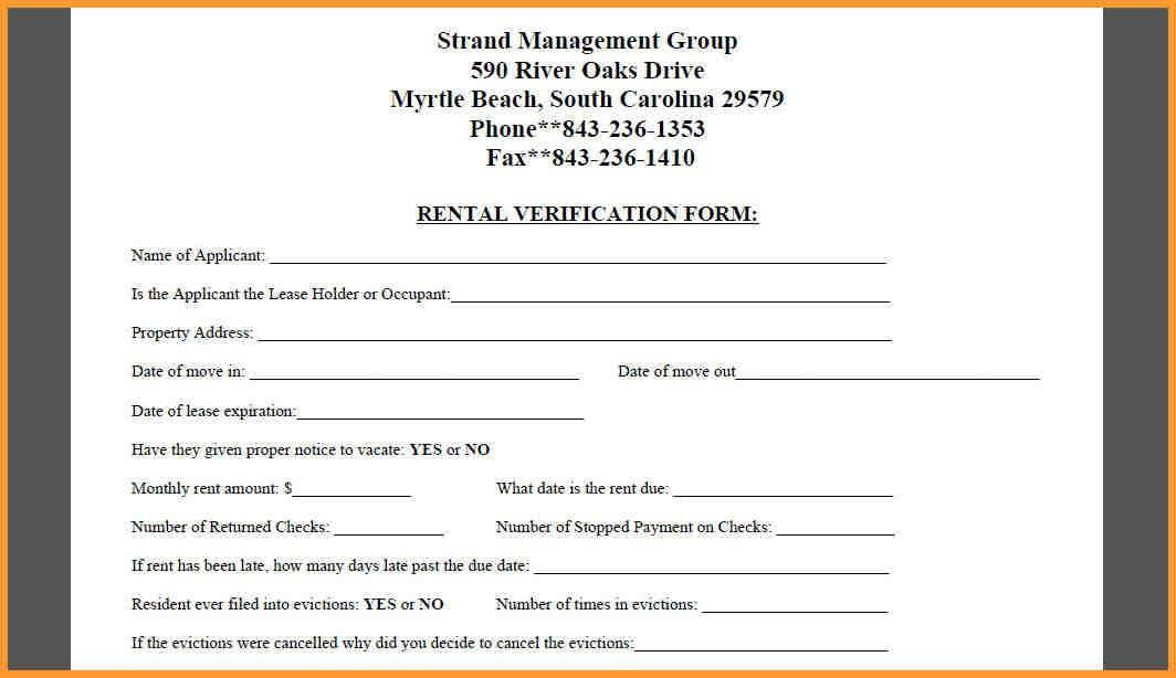 Rental Verification Form. Rental Application Template 42 42 Rental ...