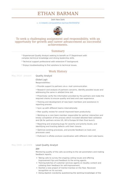 Quality Analyst Resume samples - VisualCV resume samples database