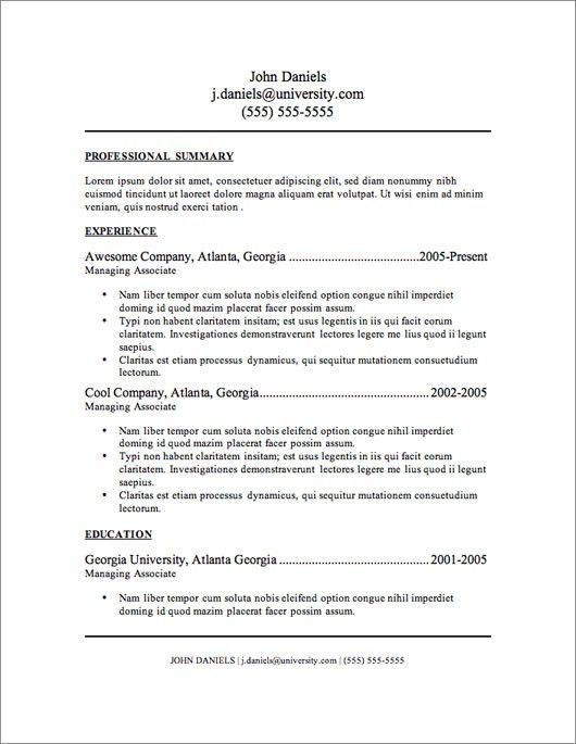 Current Resume Formats #16327