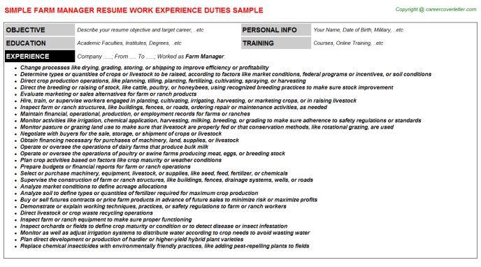sample resume for farm manager job position