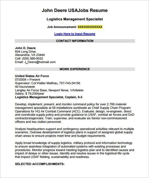 Federal Job Resume Template. Federal Job Resume Examples Jk 6 ...