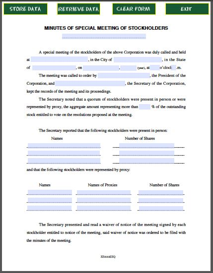 Stockholders Special Meeting Minutes Form | Free Fillable PDF Forms