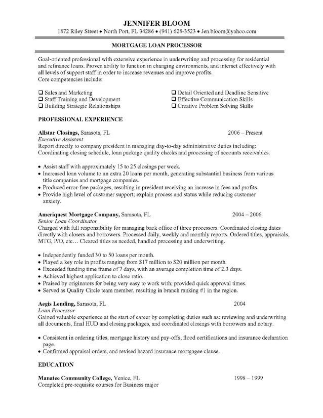 Sample of Loan Processor Resume for Job Application ...
