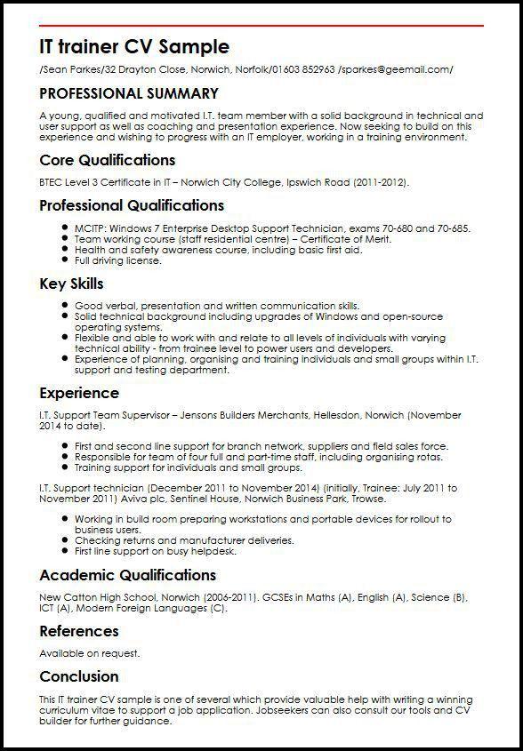 IT trainer CV Sample | MyperfectCV