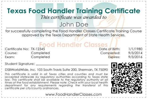 Food Handler Classes: Food Handler Certificate Sample