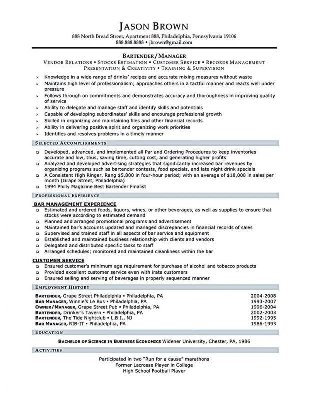 Examples Of Bartender Resumes. Bartender Resume Example And ...