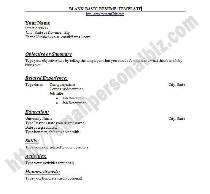 Blank Resume Templates For Microsoft Word. With Sample Academic ...