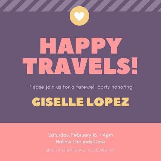 Purple, Pink and Yellow Striped Farewell Invitation - Templates by ...