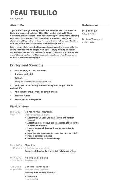 Maintenance Technician Resume samples - VisualCV resume samples ...