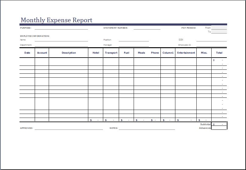 100+ Expense Template | Expense Reimbursement Form Template ...
